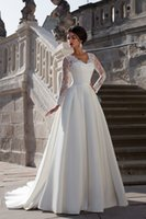 Wholesale New Elegant Lace Top Europe A Line Satin Skirt Long Sleeve Wedding Dresses Bridal Gowns vestido de noiva FW050