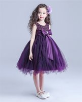 Wholesale New arrival elegant purple Vintage flower girl dress princess party tutu dress knee length