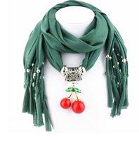 Wholesale 2016 cherry Pendant Scarves Xmas scarves Alloy Cross Jewelry Scarves Necklace Scarfs with Animal Heart Santa Claus Pendant scarves cm