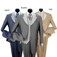 Wholesale king shop Custom Hot Slim Men s piece Luxurious Classic Gangster Pinstripe Wool Feel Suit sty V