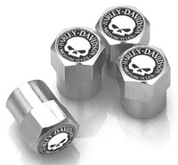 Wholesale black Silver ColorMini metal wheel tire valve stem caps for Halley skull and crossbones