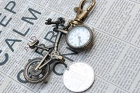 bicycle without chain - Halloween Christmas Party Gift Brand New Bronze Quartz Antique Bike Bicycle Vine Pocket Watches with Key Chain Sweater Necklace