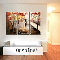 artist groups - Skilled Artist Hand painted Group Abstract Paintings Lover Walking On The Autumn Road Oil Painting For Living Room Decoration