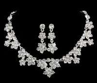 Wholesale Silver 925 Necklaces For Bridal - 2016 New Amazing Shinny Bridal Jewelry Rhinestone Crystal Luxury Necklace Earring Jewelry Set For Wedding Party Evening Cheap In Stock