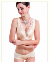 achat en gros de femmes soie pantalons costumes-Nouveau femmes bourgeon de beauté en soie retour soutien-gorge ensemble pantalons femme costume grand soutien-gorge sous-vêtements lait no34