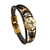 Wholesale 12 Zodiac Sings Bracelets Fashion Jewelry Leather Bracelets Men Casual Personality Alloy Vintage Punk Bracelet B1171