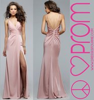 Wholesale Dusty Pink Long Celebrity Evening Dresses Spaghetti Straps High Splits Prom Party Gowns Cheap Long Women Pageant Formal Wear Custom