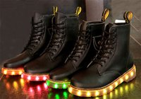 Cheap High quality black LED boots male and female zip lighting leisure shoes apartment shine boots black light shuffle dance
