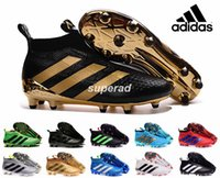 Wholesale New Adidas Ace Soccer Cleats Ace Purecontrol Firm Ground Cleats FG CG Black Gold Men Football Soccer Shoes Original Quality