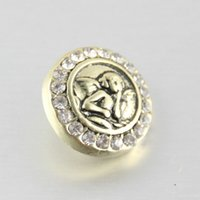 Wholesale Newest Rtro MM Snaps Chunk Charm Button Angel Alloy Rhinestone Snap Button Fit For Noosa Leather Bracelets