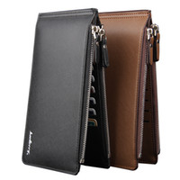 Wholesale Top Quality Men s Wallets Leather Purses Solid Long Wallet for Cellphone New Male Elegant Card Holder Clutch Bags with Zipper Black Brown