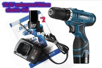 Wholesale 16 V cordless screwdriver rechargeable power tools double speed waterproof electric drill with LED stepless speed switch