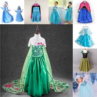 Wholesale Straight Chiffon Red Dresses - 2016 New Frozen Baby Girls Dress Elsa Custom Cosplay Summer Anna Girls Dresses Princess Elsa Costume for Winter Christmas Party Children Dr