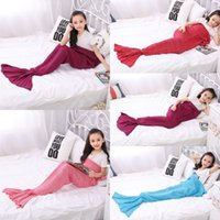 Wholesale winter mermaid Handmade Crocheted Mermaid Tail Sofa Blanket Cocoon Knit Lapghan Beach Quilt Rug Winter