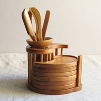 bamboo tray - Natural bamboo Tea tools set Include needle spoon clip tray vintage handmade tea tool bamboo cup mat drinkware accessories