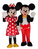 Pareja Nueva Mouse (Minnie y Mickey) Tamaño traje de la mascota del ratón adulto / libre
