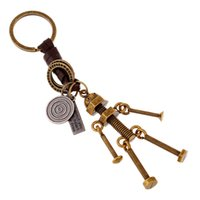 Wholesale Fashion Jewelry Handmade Key Chains Leather Men s Alloy Robot Key Buckle Vintage Personality Casual Punk Key Buckles K110