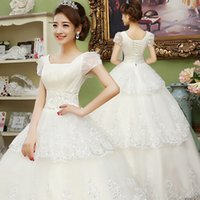 skirting direct - Factory Direct Bateau Lace Wedding Dresses New Off Shoulder Empire Organza Lace Appliques Flloor Length Bridal Ball Gown KD