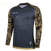 Wholesale Kelme K080 Men Long Sleeve Wicking Super Stretch Training Professional Football Goalkeeper T shirt Dark Gray Gold
