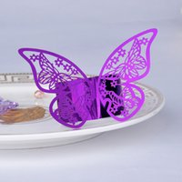 Wholesale New Arrival Purple Butterfly Design Table Paper Napkin Rings For Wedding Party Decoration Porta Guardanapo