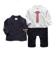 bebe jacket - New Infant baby boy suit clothing set black gentleman style long sleeve romper jacket suit menino de roupas de bebe christening