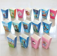 Wholesale paper popcorn box cup minnie kt car spiderman average mickey theme party decoration for baby happy birthday party supplies favor baby shower