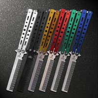 Wholesale Delicate Pro Salon Stainless Steel Folding Training Butterfly Practice Style Knife Comb Tool C25