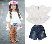 baby ruffle pants outfit - 2016 INS piece sets Summer outfits Baby Girls Ruffle Runway Dresses Kids Girl Cotton Flare Sleeve Dress Tassels Denim shorts pants sets