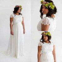 Wholesale 2016 Lace And Chiffon Wedding Dresses For Plus Size Vestidos Novia Boho Court Train Beach A line Long Robe De Mariee Noire HY944