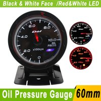Wholesale 60mm Car Oil Pressure Gauge D fi Gauge With Sensor Universal Car D fi CR Oil Pressure Press mm Auto Gauge Car Meter White LED