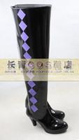 Wholesale Puella Magi Madoka Magica Akemi Homura high hell pu ver Cosplay Boots Shoes shoe boot CQ008 Custom made Hand made