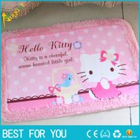 Wholesale hello kitty Carpet alfombra Strips Door Mat Hall Bathroom KitchenHome Rug Absorbent Non slip Coral Velvet Mats