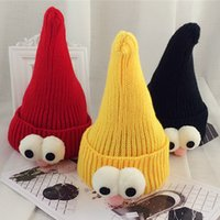 Wholesale Children Hedging Pointy Wizard Hat Baby Wool Cap Autumn and Winter Cute Wool Hat with Big Eyes Funny Perspective