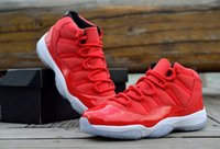 Wholesale Crystal Mesh Fabric Rhinestone - Air Retro 11 XI All Red White Crystal Bottom Men Basketball Shoes Sneakers AA High Quality Version Wholesale Size US 8 13 Free Shipping