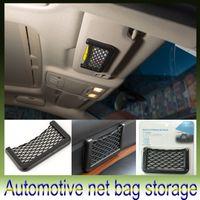 Wholesale New Black Car Net Organizer Pockets Car Storage Net Automotive Bag Box Adhesive Visor Car Bag For Tools Mobile Phone