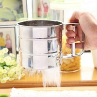 Wholesale 1pc Stainless Steel Cup Shape Flour Sieve Bolt manual Sugar Shaker Kitchen Tool