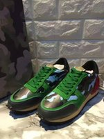 american casual shoes - Brand New women casual shoes American superstar style Genuine leather shoes Mosaic camouflage red and green size