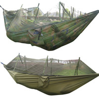 army camo netting - 260x130cm Portable Outdoor Garden Army Green Camo High Strength Parachute Fabri Camping Mosquito Hammock with Mosquito Nets