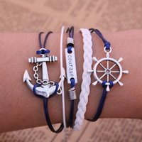 adorn selling fashion - Manufacturers selling Diy fashion anchor the rudder infinity multilayer hand woven leather bracelet joker adorn article