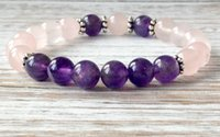 Beaded, Strands amethyst mala - SN1067 Hot Sale Rose Quartz Amethyst Bracelet Wrist Mala Beads Healing Crystals Bracelet Heart Chakra Jewelry