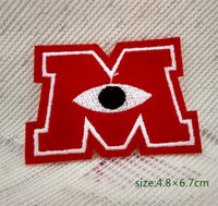 baby rugby ball - Monsters University Red Letter M Eye Rugby Ball Applique Iron On Patch Decoration Gift baby Decorate Individuality pc
