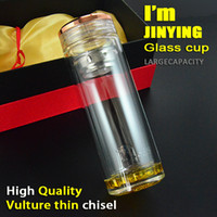 Wholesale double glazing ml High grade Thermos glass Water Bottle with Tea Filter Infuser Protective Bag Crystal tea cup
