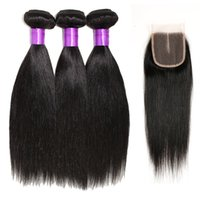 Wholesale Grade A Peruvian Virgin Hair Straight With Closure Top Lace Closure Hair Cheap Straight Human Hair Weave Bundles Natural Color B