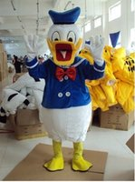 batik dying - Newcome White Duck Donald Duck Mascot Costume Duckling Die Ente Quackquack Wearing Blue Suit Mascotte Adult No Free Ship
