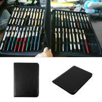 bamboo pencil case - Fountain Pen Roller Pen case pencil bag Black bag Color PU Leather Zipper Case for Pens new arrival