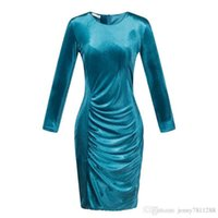 Wholesale Sexy Work Clothing - Women formal party evening dresses Slim bodycon velvet dress for lady Pencil dress Plus size sexy skirt clothing 2016 Europe style 4Colors