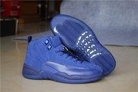venta caliente 12 ante azul para hombre de los zapatos de baloncesto outdoot atlético hombre la zapatilla de deporte de salto de alta calidad XII Botas Calzado deportivo 12s tamaño azul francés: 8-