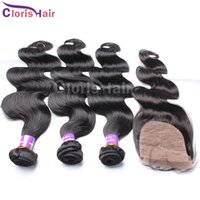 Wholesale Silk Base Closure With Bundles Unprocessed Indian Hair With Closure Body Wave Human Hair Weave And Closure Cloris Products
