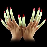 beauty supply jewelry - 10pcs set Halloween party supplies witch zombie props false nail set noctilucent nail set hot sale witch cosplay costume props