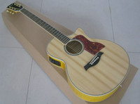 Wholesale Top Quality Abalone Inlay ce Solid Spruce Top Cutaway Ebony Fretboard Fishman Pickup Acoustic Electric Guitar